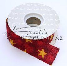 Piros alapon arany csillagos textil, 35mm széles, 3m hosszú szalag